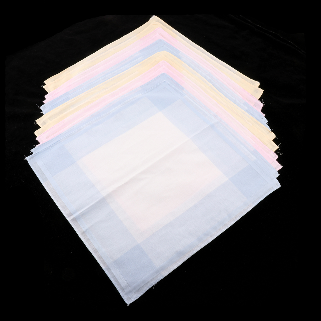 Handkerchief Set, 100% Cotton Fabric Handkerchief (Pack Of 12)