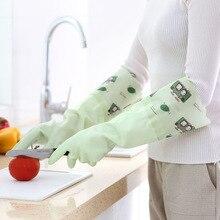 New rubber gloves kitchen dishwashing waterproof warm plus velvet thickening gloves Cartoon laundry cleaning  housework 1pair
