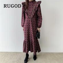 Rugod 2020 весеннее корейское ретро платье макси однотонный