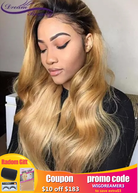 Highlight Ombre Glueless Lace Front Human Hair Wigs Wavy Ombre Blonde Hair Lace Wigs Pre Plucked Peruvian Remy Hair Dream Beauty