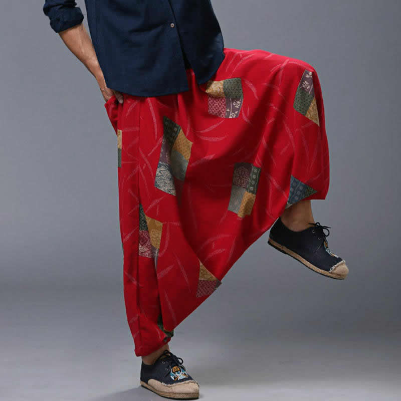 Plus Size Women Harem   Pants   Hiphop Baggy Loose   Wide     Leg     Pants   Cotton Linen Drop Crotch Joggers Boho Dance Trousers Nepal Style