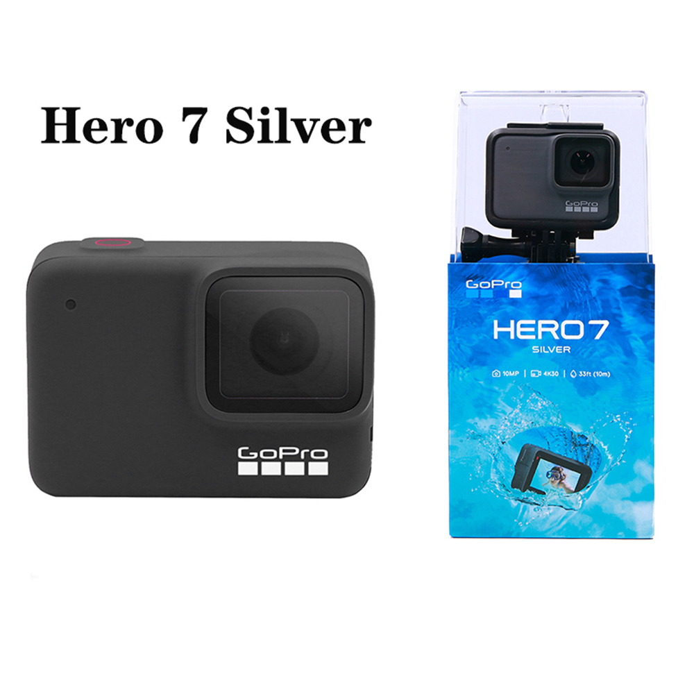 GoPro HERO 7 Silver Waterproof Digital Action Camera with Touch Screen 4K HD Video 10MP Photos Cam Sport go pro 2