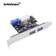 Kebidumei adaptador para placa de expansão, de alta qualidade, usb 3.0 pci-e, 2 portas externas, usb3.0 hub, conector interno de 20pin, cartão pci-e