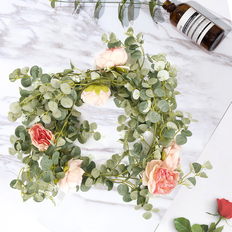 Artificial 1.85M Eucalyptus Garland With Champagne Roses Greenery Garland Eucalyptus Leaves Wedding Backdrop Wall Deco