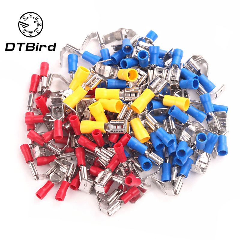 100PCS Back Piggyback Insulated Cold Pressing Spade Crimp Male And Female Connector Terminal