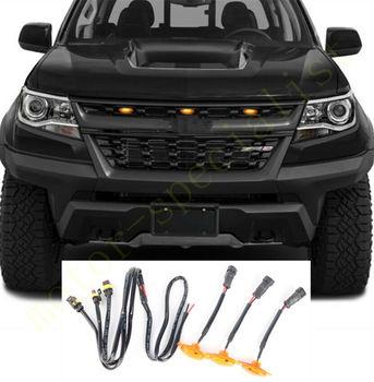 LED samochód przedni grill LED bursztynowe światło Raptor styl zestaw oświetleniowy Decor W prędkość drutu 3 sztuk dla Chevrolet Colorado 2017-2020 tanie i dobre opinie AOQDGRYJ CN (pochodzenie) Klimatyczna lampa