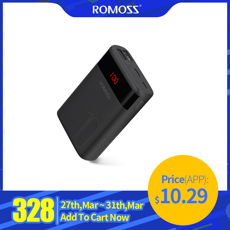 ROMOSS Ares 10 10000mAh Power Bank With Double USB Port Powerbank External Battery Pack Travel Size Portable Charger For IPhone
