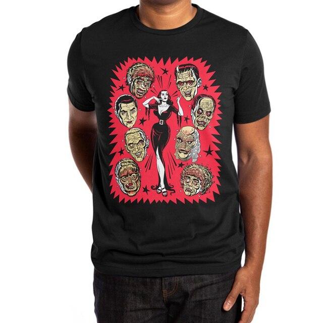 Camiseta mistério de data, cultura pop, dia das bruxas, louça, frankenstein, criatura da lagoa preta, horror, elvira, bucketfeet