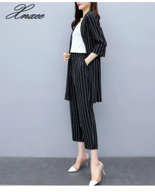 2019 autumn new Korean version was thin large size striped suit jacket pants two-piece fashion nine pants suit women Xnxee