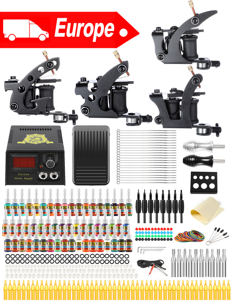 Solong Professional Tattoo Kits Complete Sets 4 Tattoos Guns Coil Machines for Liner and Shader 54 Inks Power Supply TK457(China)