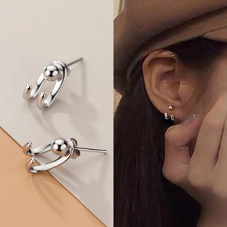 S925 Sterling Silver Back Hanging Earrings Female Simple Wild Neutral Earrings For Woman