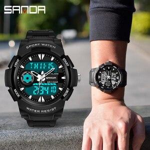 Image 5 - Часы наручные SANDA мужские электронные, спортивные Водонепроницаемые многофункциональные светодиодные цифровые в стиле милитари, для плавания