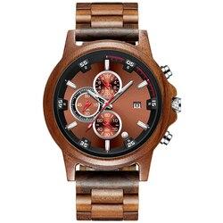 Drewniany zegarek wyświetlanie daty Casual Men luksusowy drewniany chronograf Sport Outdoor Military Quartz zegarki w drewnie relogio masculino w Zegarki kwarcowe od Zegarki na