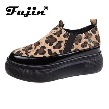 Fujin Platform Shoes Thick Sole Slip on Creepers Women Casual Slipony Stretch Spring Autumn Breathable Leather
