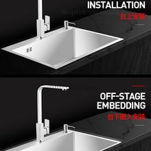 Basin 304-Stainless-Steel Sink Under-Counter Hand-Wash Kitchen Trough Three Household