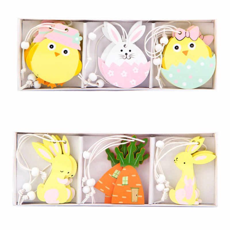 9pcs Coniglio di Pasqua di Legno Del Pendente Della Decorazione FAI DA TE In Legno Appeso Artigianato Carino Coniglietto di Pasqua Ornamenti Rifornimenti Del Partito Artigianato In Legno Regalo
