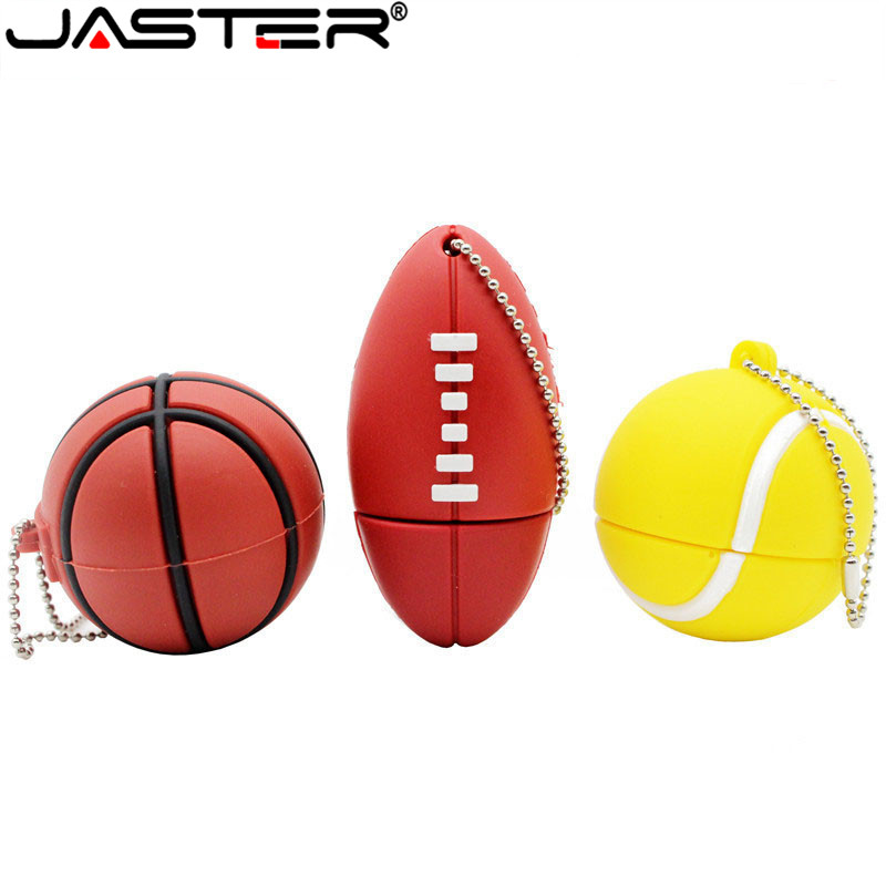 JASTER Sports Ball Usb Flash Drive 8GB 16GB 32GB Memory Stick Basketball Pendrive Football Pendriver Tennis Usb Disk USB 2.0