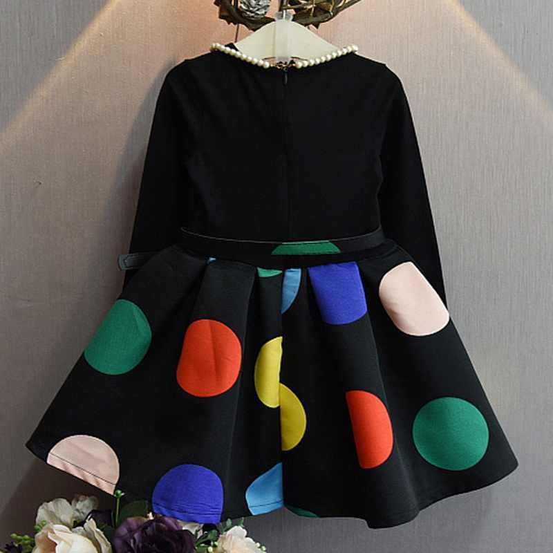 2019 г.; Детские платья принцессы с поясом; Цвет Черный; платье в горошек с длинными рукавами; Детские Вечерние платья на свадьбу; сезон весна-осень