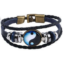 2018 New Style A Pair of Buckles Time Stone Bagua Cattle Leather Bracelet Cross Border a Generation of Fat Yin And Yang Alloy Le(China)