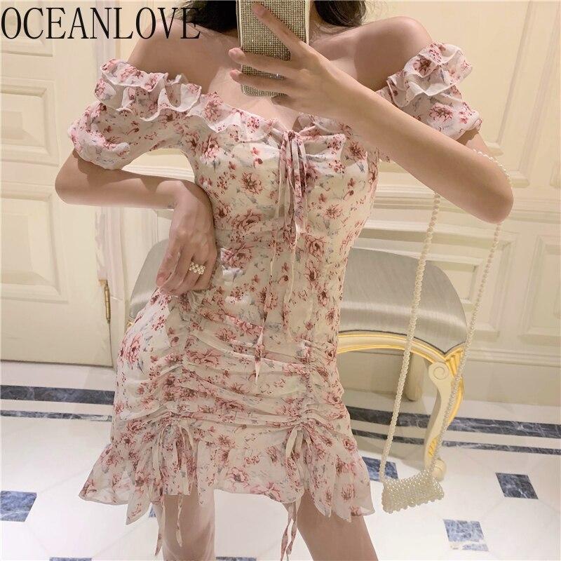 Одежда для отдыха в Корейском стиле; шифоновое облегающее платье с цветочным принтом и открытыми плечами; сексуальное летнее платье с корот...