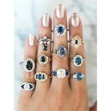 11 Stks/set Vrouwen Ringen Exquisite Ronde Vierkante Geometrische Blue Crystal Silver Kleur Gouden Ring Set Vrouwelijke Engagement Party Sieraden
