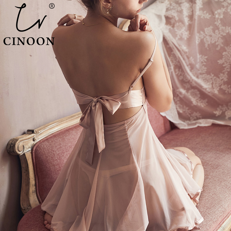 CINOON Women Sexy Nightwear V Neck Lace Visible Mesh Lingerie Bathrobe Female Nightdress Home Clothes Bow Backless Sleepwear