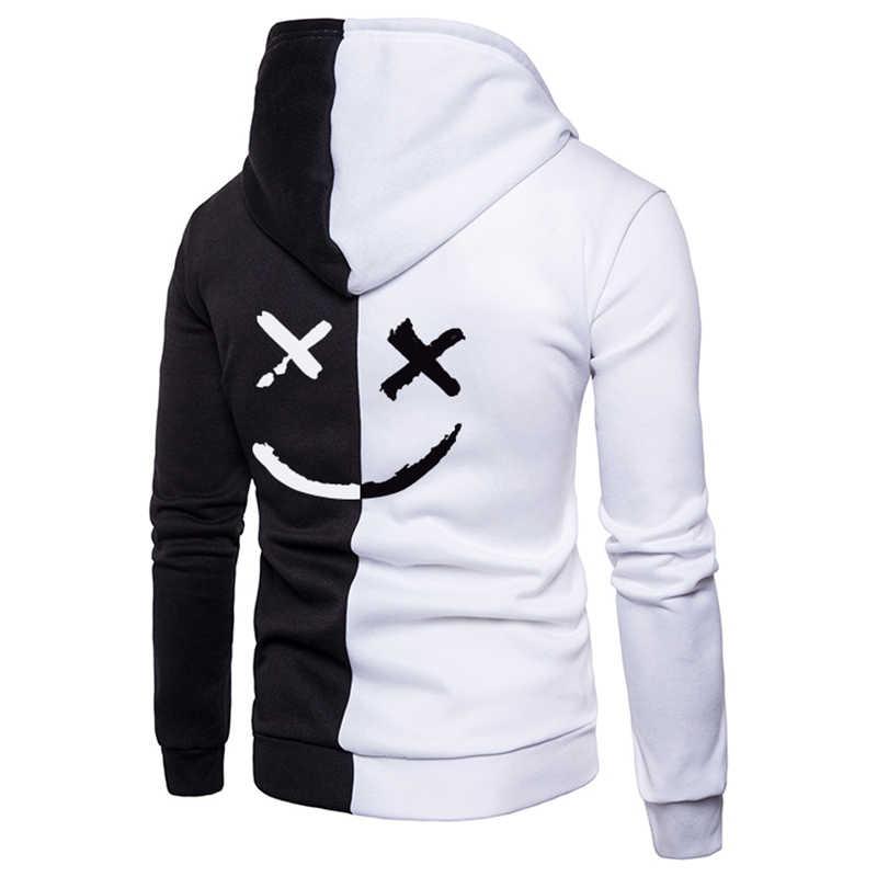 2019 mens hoodies sweatshirt 해피 스마일 페이스 프린트 mens 패치 워크 후드 긴 소매 후드 풀오버 점퍼 스웻 셔츠 남성