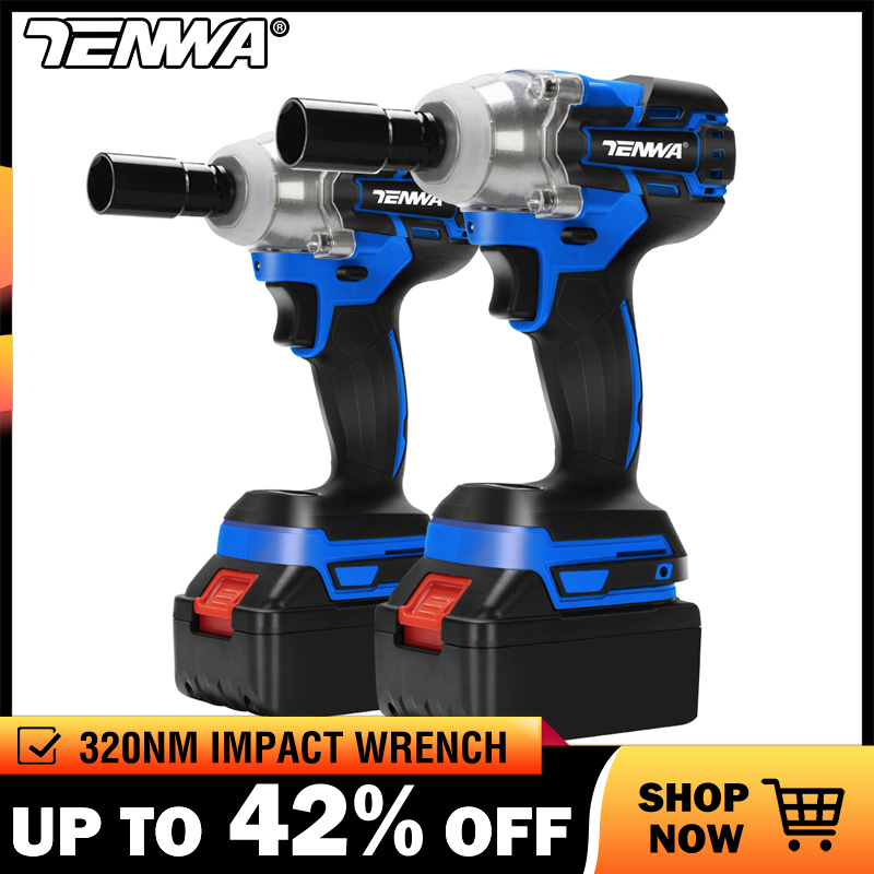 TENWA Brushless Electric Wrench 21V Impact Wrench Socket   4000mAh Li Battery Hand Drill Installation Power Tools-in Electric Wrenches from Tools on
