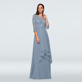 Charming Dusty Blue Chiffon Lace Applique Top Mother of the Bride Dresses Jewel Neck Three Quarter Sleeve Wedding Party Dresses lace applique lantern sleeve cold shoulder top
