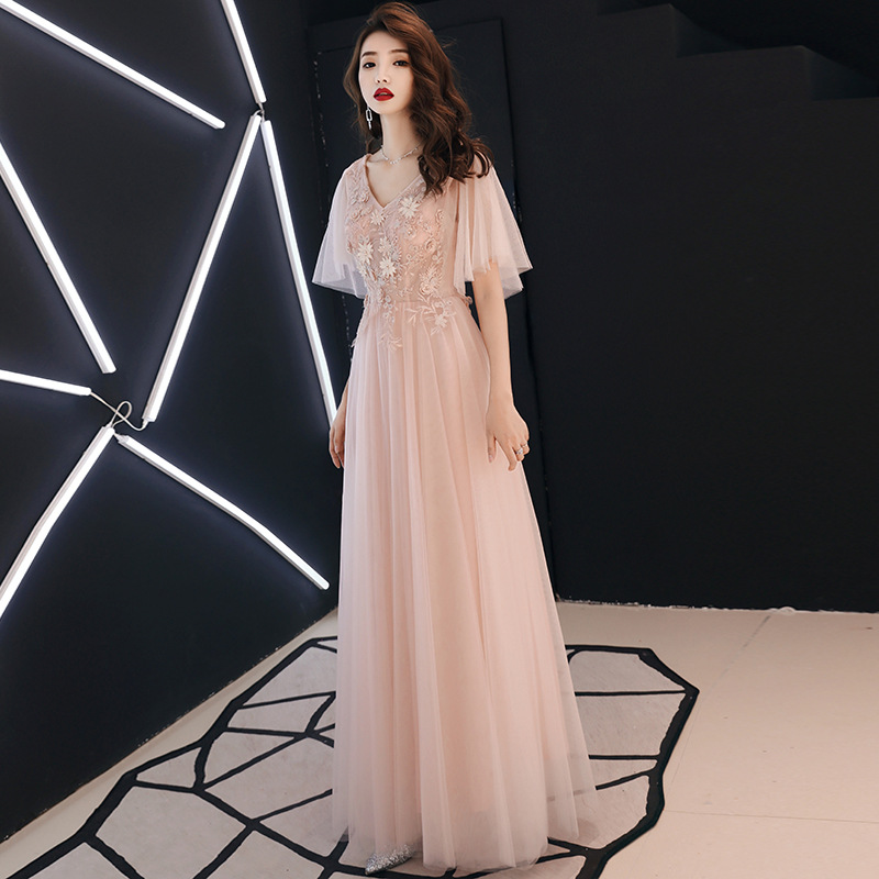 Evening Dresses Nude Pink Crystal A-Line Formal Prom Gowns V-Neck Embroidery Elegant Party Dress Lace Up Robe De Soiree E411