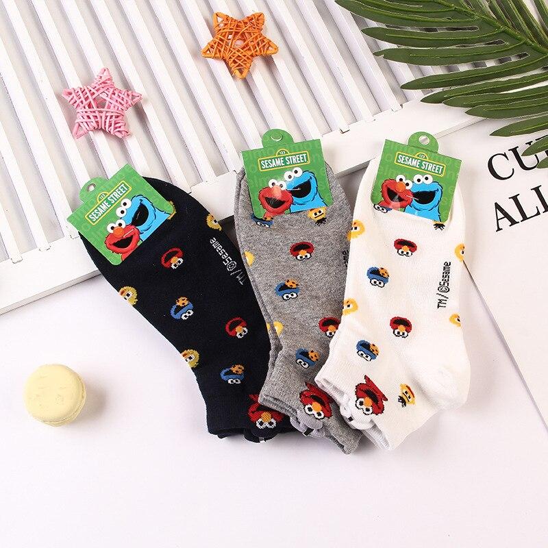 Us 2 28 43 Off Cute Sesame Street Socks Elmo Cookie Monster Fashion Novelty Funny Women Sock Autumn Comfortable Breathable White Black Socks In