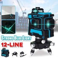 NEW 12 Line Laser Level Powerful Blue Light Rotary Cross Measuring Horizontal Vertical 360° Self Leveling for Construction Tool