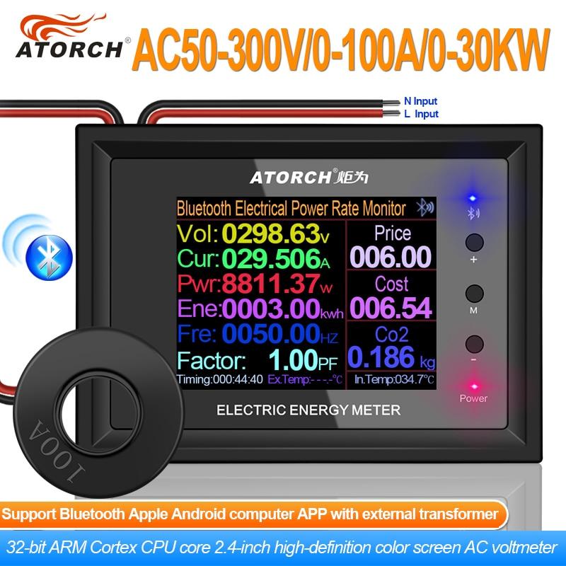 Цифровой вольтметр AT24C, измеритель напряжения и силы тока, 100 А, 2,4 дюйма