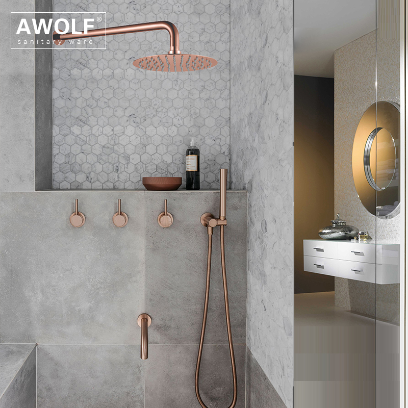 "Image 3 - Bathroom Shower Set Brushed Rose Gold Simplicity Solid Brass 8"" Shower Head Faucet Mixer Tap Shower Bath Black Chrome AH3023Shower Faucets   -"