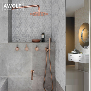 "Image 3 - Bathroom Shower Set Brushed Rose Gold Simplicity Solid Brass 8"" Shower Head Faucet Mixer Tap Shower Bath Black Chrome AH3023"