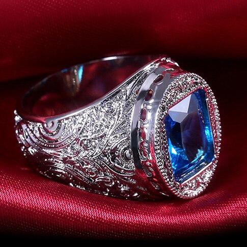 Huitan-Anillo de circonia cúbica azul para mujer, sortija, zirconia, circonita, zirconita, zirconita, circón, diseño Vintage, para mamá y abuela