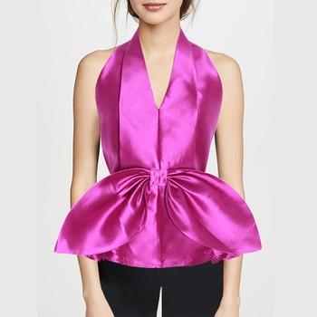 HIGH STREET 2020 Newest Fashion Designer Tops Women's Backless Bow Ruffles Halter Ruffle Camis