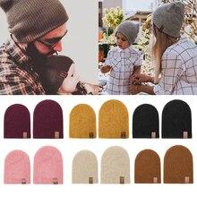 REAKIDS/зимняя детская шапка для родителей и детей, теплая шапка для папы и мамы, вязаная крючком эластичная вязаная шапка, мягкая теплая шапка для малышей