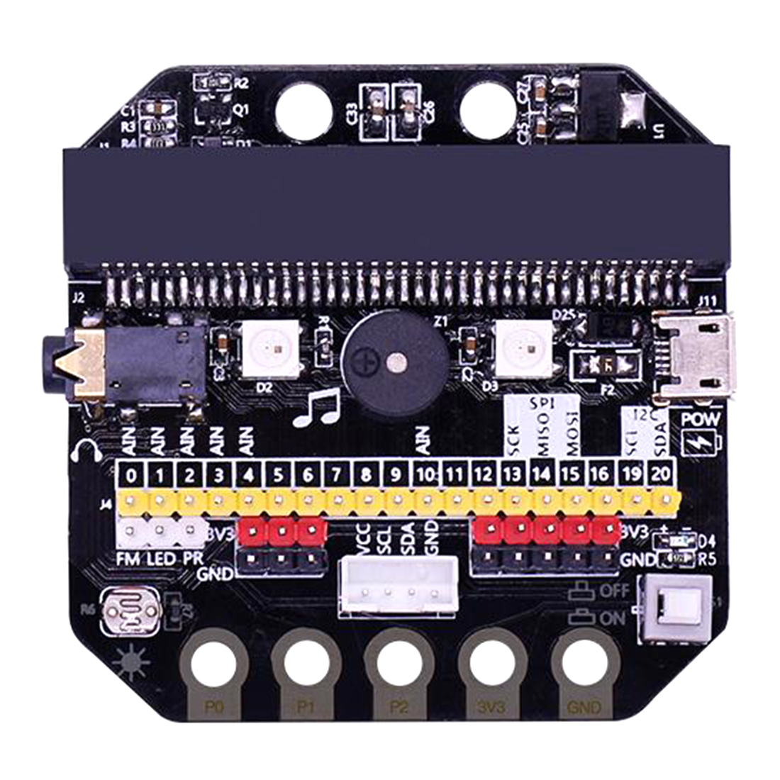 Basic:Bit IO Expansion Board Horizontal Type Pinboard Microbit Python Development Board For Micro:Bit For Children Education Toy
