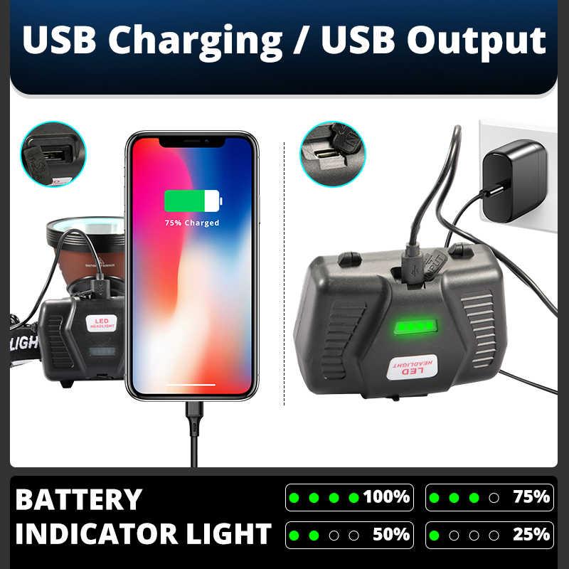 IR חיישן 8000 לום חזק XHP-90.2 led פנס דייג קמפינג פנס פנס ראש מנורת USB לפידים פנס 3*18650