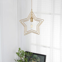 Nordic Golden Iron Chandelier Creative Restaurant Balcony Bar Single-headed Study Star Chandelier Pendant Lamp Home Decor(China)
