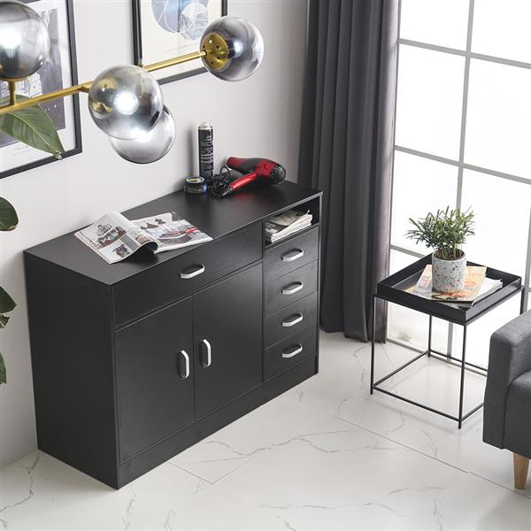 MDF & Galvanized Iron Rectangular 7 Compartments 5 Drawers 1 Door Hair Salon Cabinet Black Color