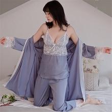 JULYS เพลงใหม่ผู้หญิงฤดูใบไม้ผลิชุดนอน 3 ชิ้น SEXY Lace Faux ชุดนอนชุดนอนผ้าไหมชุดสตรีชุดนอนชุดนอนลูกไม้สลิงกางเกงฤดูร้อน robe