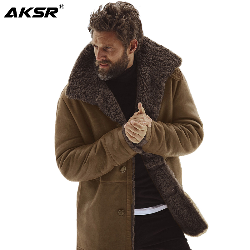 AKSR Men's Winter Warm Padded Cashmere Jacket Resist The Cold Warm and Practical Men's Coat