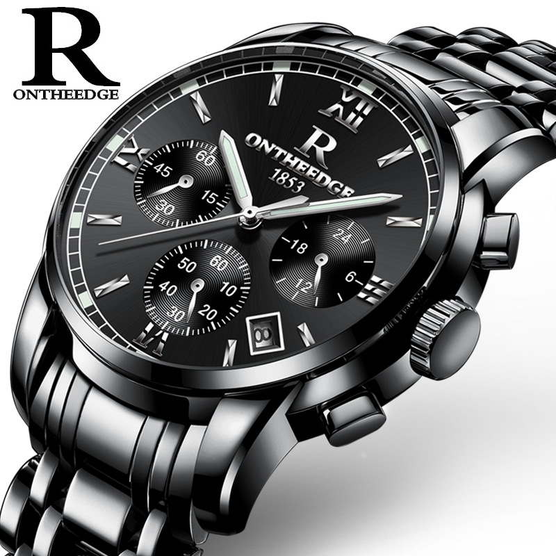 ONTHEEDGE Top Luxury Brand Men Stainless Steel Quartz Wrist Watch Men's Waterproof  Analog Date  Watch Relogio Masculino