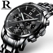 ONTHEEDGE Top Luxury Brand Men Stainless Steel Quartz Wrist Watch Mens Waterproof  Analog Date  Watch Relogio Masculino
