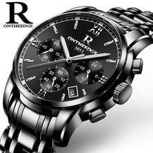 Часы наручные ONTHEEDGE Мужские кварцевые, роскошные брендовые водонепроницаемые аналоговые, с датой, из нержавеющей стали