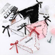 Women Sexy Semi-Sheer Mesh Underwear Briefs Letters Embroidered Side Tie Bowknot Lingerie Thong Low Waist Ruffles Panties