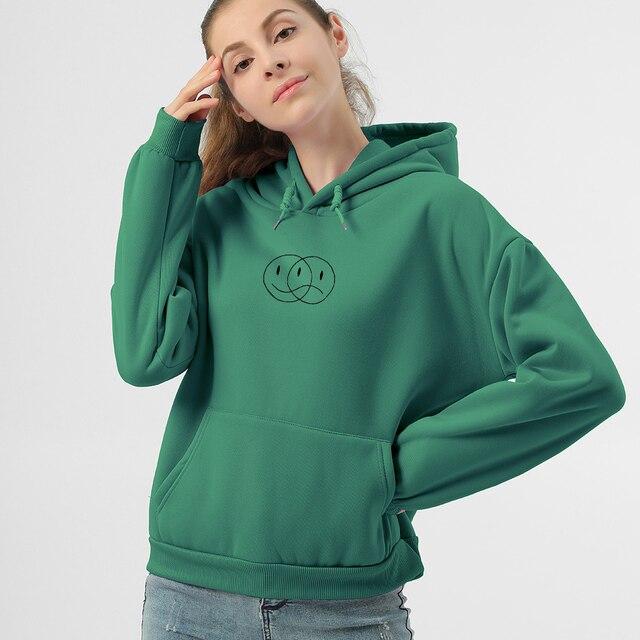 Korean Streetwear Sweatshirt Men Women Casual Pullover Hip Hop Long Sleeve Smile Sad Face Line Print Hoodies Sportswear Tops 5
