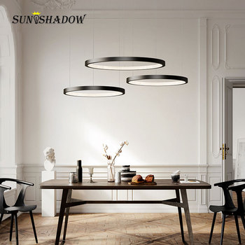 Led Chandelier Circle Ceiling Hanging Lamp Modern Chandelier Lighting Black&White Indoor Chandelier Lamp Fixtures 20 40 60 80CM